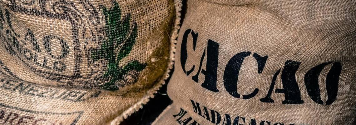 Jutesäcke mit fair gehandeltem Kakao